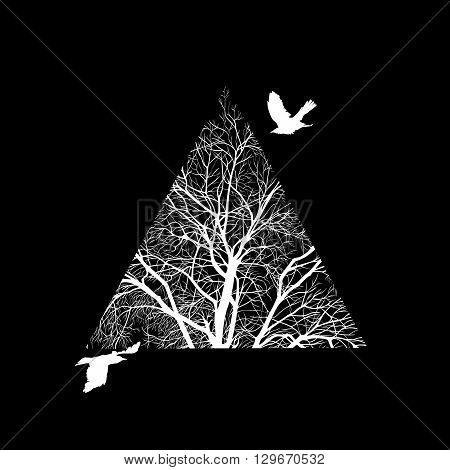 minimalist image of a winter tree cropped in a triangle. design element for cards, simple concise illustration.