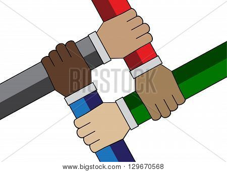 Handshake of people of the world on a white background