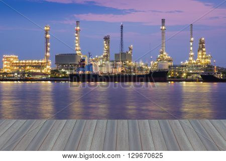 Beautiful sky background, Oil refinery river front, opening wooden floor