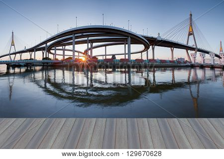 Opening wooden floor, panorama twin suspension bridge sunset and reflection