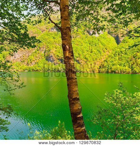 Lake Lago del Mis in the Italian Dolomites