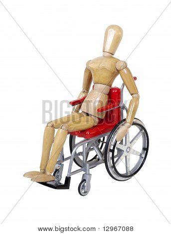 Riding A Red Wheelchair