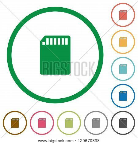 Set of SD memory card color round outlined flat icons on white background