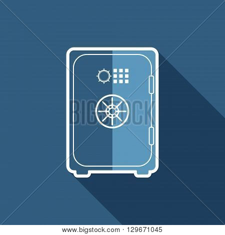 Safe flat icon. Safety deposit box symbol. Vector illustration