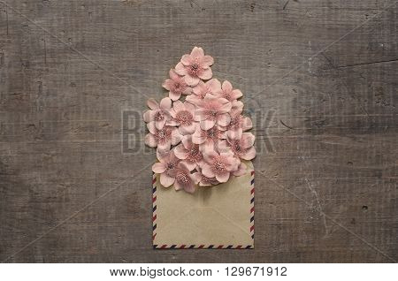 Beautiful Flowers In The Old Envelope