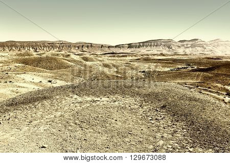 Grand Crater in Negev Desert Israel Retro Image Filtered Style