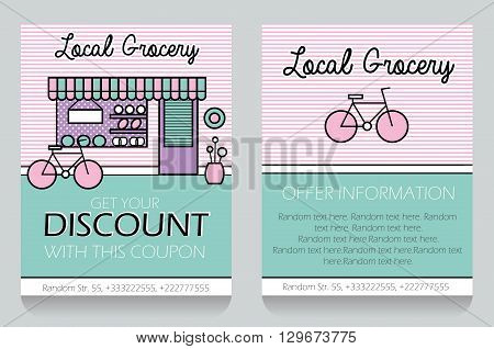 Trendy Minimalistic Icon Style Local Grocery Store Themed Discount