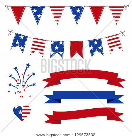 Vector Set of Patriotic Bunting flags ribbons fireworks for Independence Day on July 4.