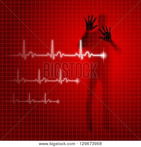 Red medical background with human silhouette and cardiogram line
