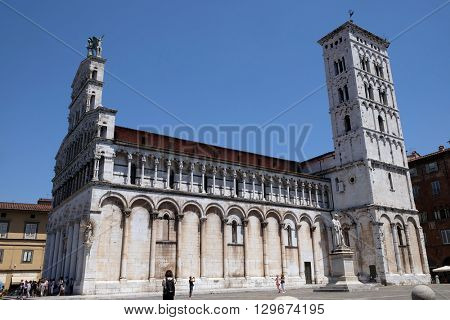 LUCCA, ITALY - JUNE 06, 2015: San Michele in Foro Church in Lucca, Italy, on June 06, 2015