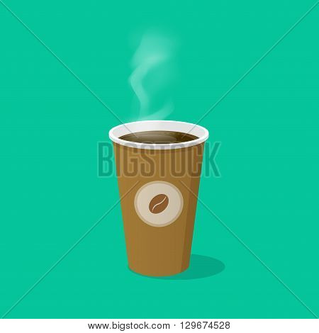 Coffee cup with coffee bean logo and steam vector illustration isolated on green background, paper coffee cup icon, disposable coffee cup flat cartoon design