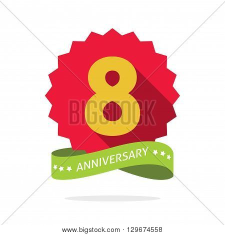 8th anniversary badge with shadow on red starburst and yellow number 8  eight. 8 years anniversary icon. Eighth years symbol, ribbon, vector emblem isolated on white