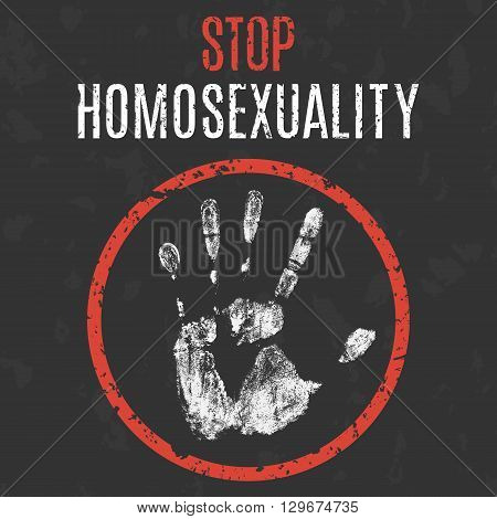 Homosexuality stop sign.  concept icon, Vector illustration