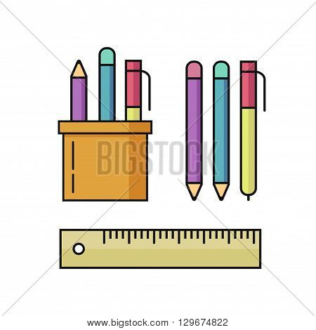 Pen and pencils, ruler vector illustration set isolated on white background, office stationary holder, education tools outline linear flat style, black thin line cartoon design