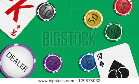 Vector illustration. The composition of the playing cards and poker chips. Green baize gaming table with space for your text.