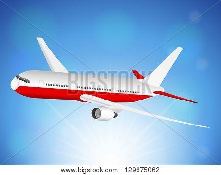 Airplane flying on blue sky. Vector illustration.