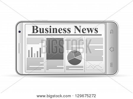 Phone with newspaper on a white background.
