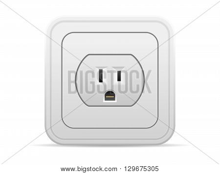 Power outlet on a white background. Vector illustration.