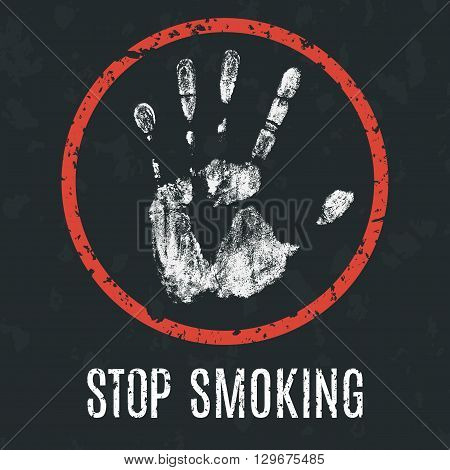 Conceptual vector illustration. Global problems of humanity. stop smoking