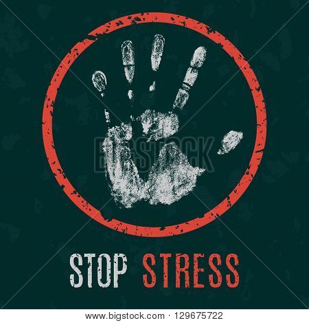 Conceptual vector illustration. Global problems of humanity. stop stress