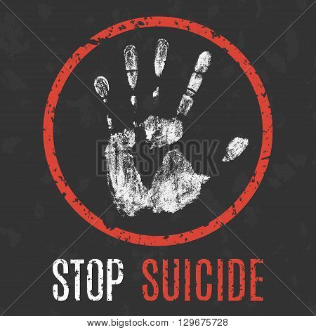Conceptual vector illustration. problems of humanity. stop suicide