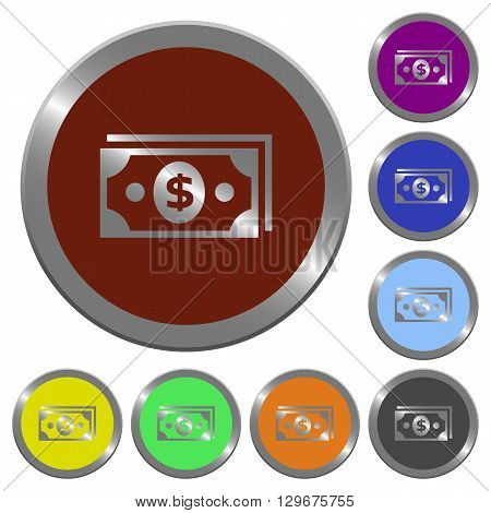 Set of color glossy coin-like dollar banknotes buttons.