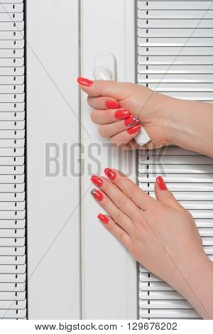 Female hands whith manicure and blinds at window