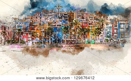 Villajoyosa skyline. Digital watercolor painting of Villajoyosa town Costa Blanca. Province of Alicante Valencian Community Spain