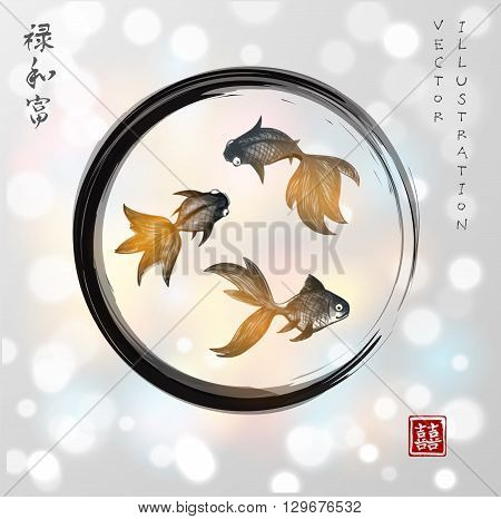 Three little goldfishes in black enso zen circle on white glowing background. Contains signs - double luck, well-being, harmony. wealth
