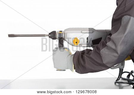Construction worker with hammer hammer on white background