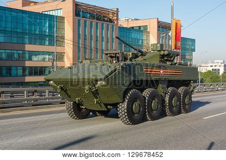 MOSCOW RUSSIA - MAY 09 2016:armored personnel carrier Boomerang on parade festivities devoted to 71 anniversary of Victory Day on May 9 2016 in Moscow.