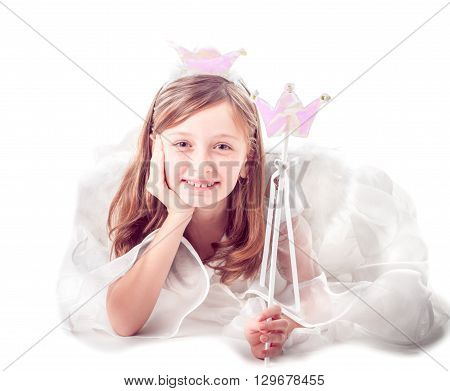 Girl like a little fairy isolated on white