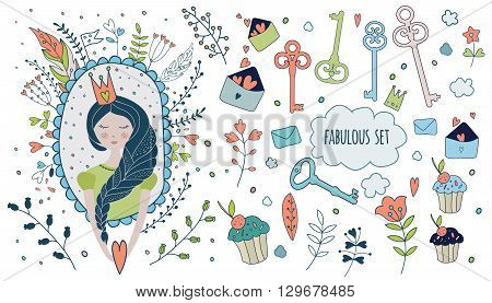 Cute magic collection with princess, unicorn, rainbow, dragon, fairy wings. Dream Spring illustration of cute animals and flowers. Fairytale design for your love card, invitation, children or wedding DIY.Vector isolated  illustration on white.