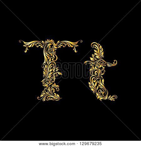 Richly decorated letter 't' in upper and lower case.