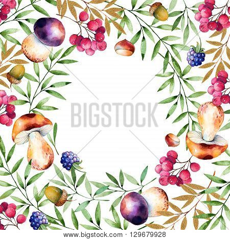 Beautiful watercolor card with place for text with autumn leaves, flowers, branch, berries, acorns, blackberries, mushrooms, chestnut
