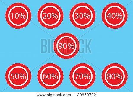Sticker discount for sale. Label merchandise tag discount promotion sticker discount. Vector flat design illustration