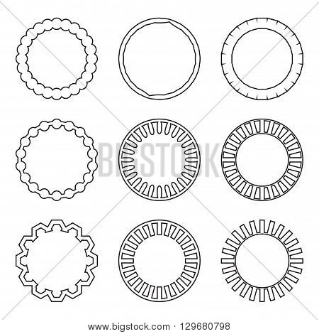 Frame set linear style. Circle frame and round vintage frame vintage frame and round border ornament linear emblem. Vector flat design illustration