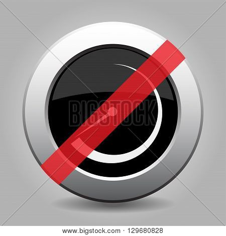 gray chrome button with no dial symbol - banned icon