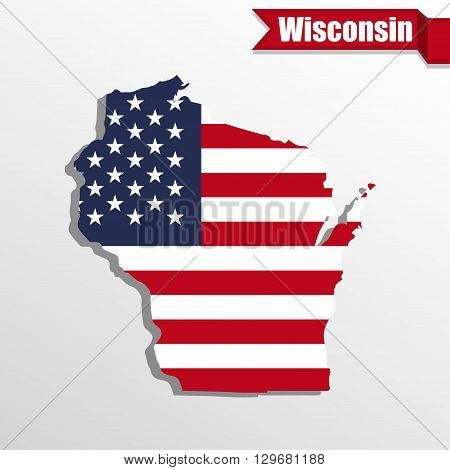 Wisconsin State map with US flag inside and ribbon