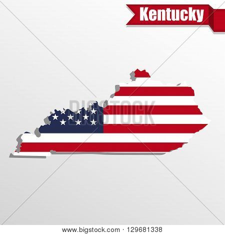 Kentucky State map with US flag inside and ribbon