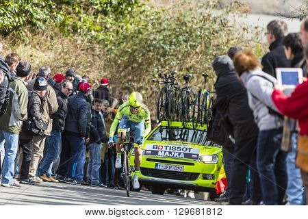 Conflans-Sainte-HonorineFrance-March 62016: The Polish cyclist Rafal Majka of Tinkoff Team riding during the prologue stage of Paris-Nice 2016.