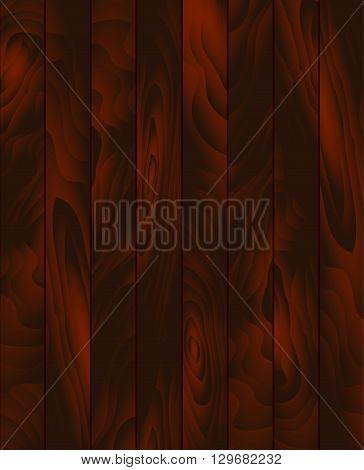 Vector wood texture. Background dark brown panels. Grunge  wooden texture, vector background. Vertical stripes.