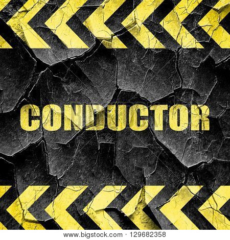 conductor, black and yellow rough hazard stripes