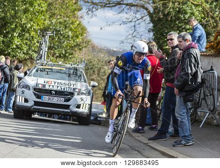 Conflans-Sainte-HonorineFrance-March 62016: The Italian cyclist Fabio Sabatini of Etixx-Quick Step Team riding during the prologue stage of Paris-Nice 2016.