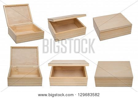 Raw wooden boxes for small items. Isolated on the white background. Different views.