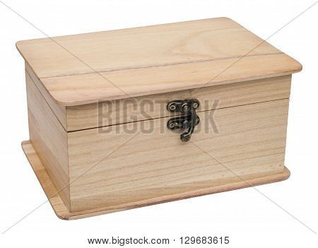 Closed plain wooden casket. Isolated on the white background. Three-quarter view.