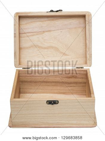 Open plain wooden casket. Isolated on the white background. Front view.