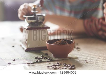 Still Life With Coffee Beans And Old Mill