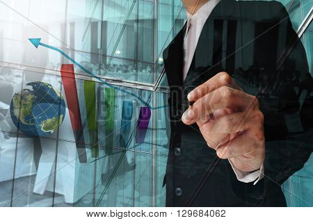Double Exposure Of Businessman And Business Meeting Or Seminar
