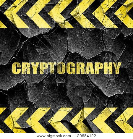 cryptography, black and yellow rough hazard stripes